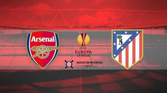 @arsenal vs atletico Madrid @europaleague  Thursday / 3pm / @brickwood_grill ⚪️🔴 ..... · · · · · · · #arsenal #afc #arsenalfc #gooners #gunners #london #northlondon #northlondonisred #emirates #football #soccer #premierleague #england #greatbritain #arsenalamerica #thearsenal #arsenalfans #wearethearsenal #arsenalfan #arsenaltillidie #europaleague