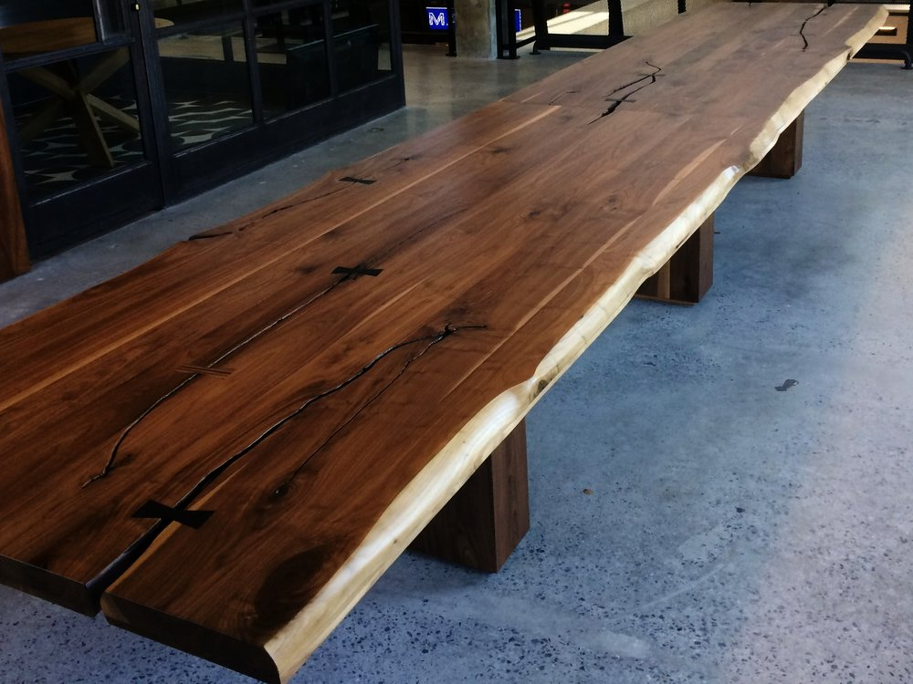 Walnut Market Table, Faux Slab 4' x 20'