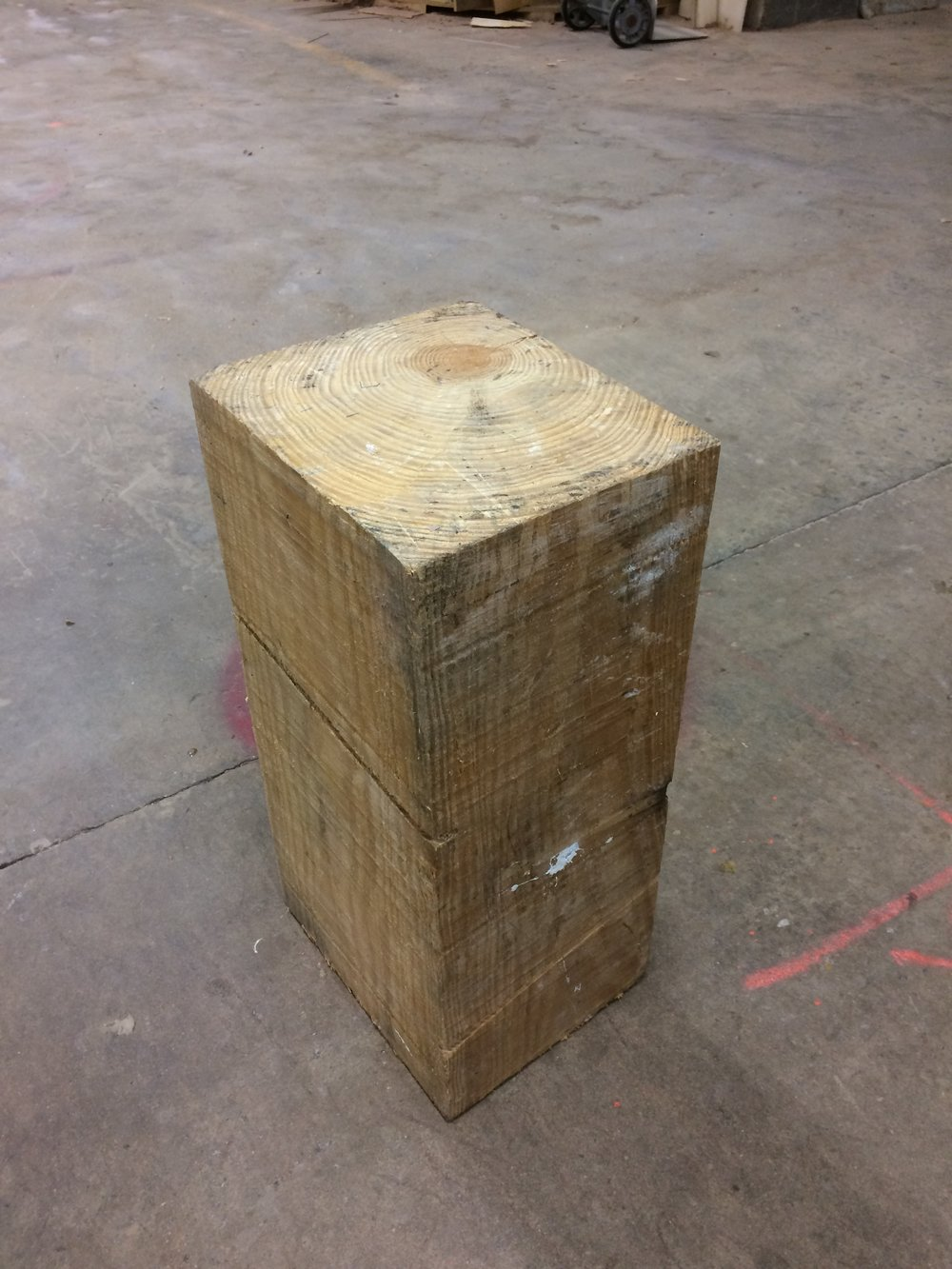"""Pine Beam End Table: 10"""" x 12"""" x 24.5"""" Check back in on this, we're adding a little subtle detail to the top and edges on this little guy. The finish is distressed waxed with a wire brushed texture. ITEM: ET PB"""