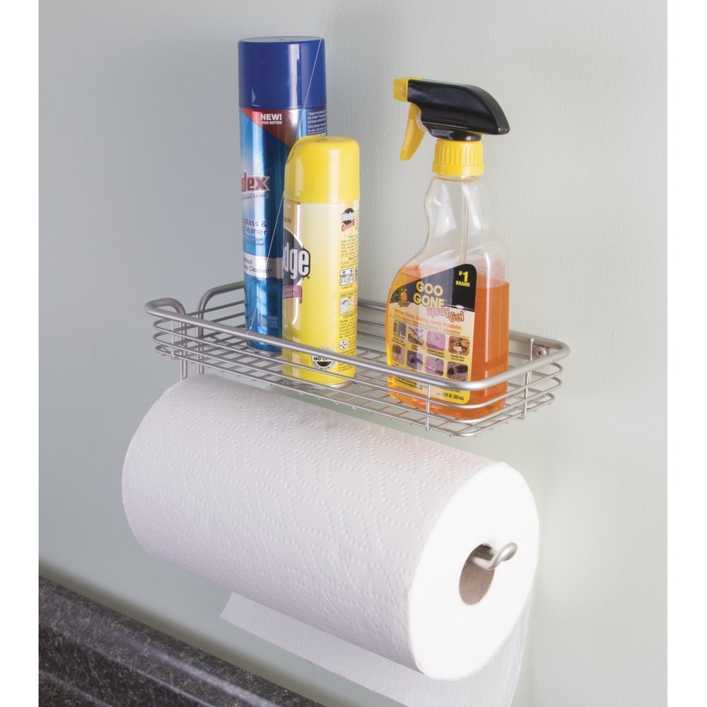 InterDesign Classico Paper Towel Holder With Shelf, Satin Nickel