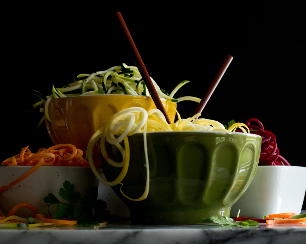 Spiralized carrots, zucchini, yellow squash and beets...welcome to summer on the shore!