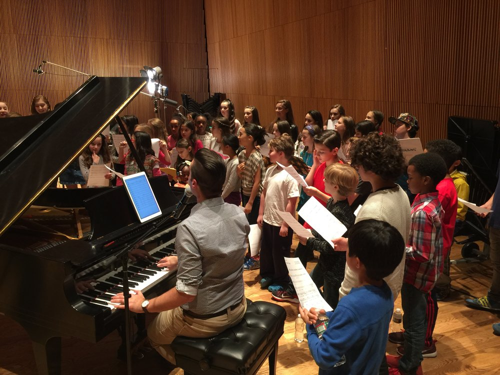 Michael J Moritz Jr conducting Broadway Kids Against Bullying Chorus