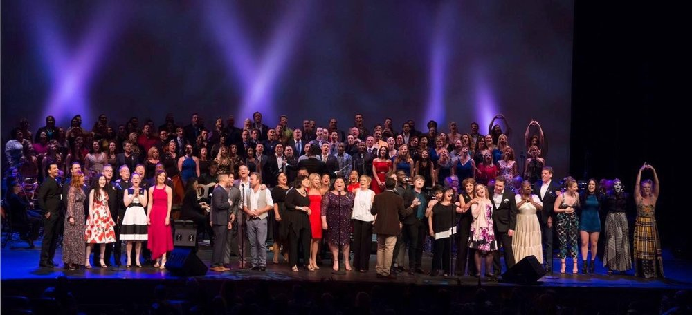 """Michael J Moritz Jr with """"From Broadway with Love"""" chorus"""