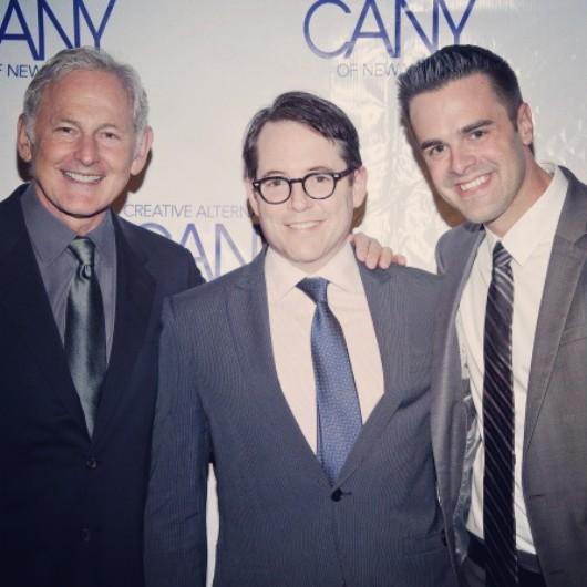 Michael J Moritz Jr with Matthew Broderick and Victor Garber