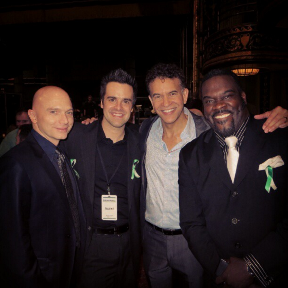 Michael J Moritz Jr with Michael Cervaris, Brian Stokes Mitchell, and Phillip Boykin