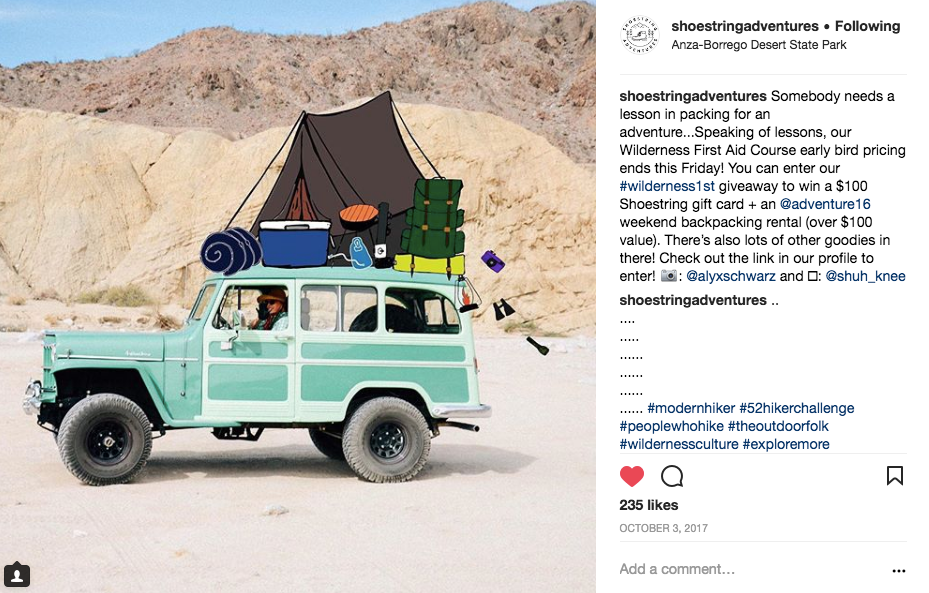 shoestring adventures giveaway promo - Illustrated the camping gear on the car to promote the giveaway!