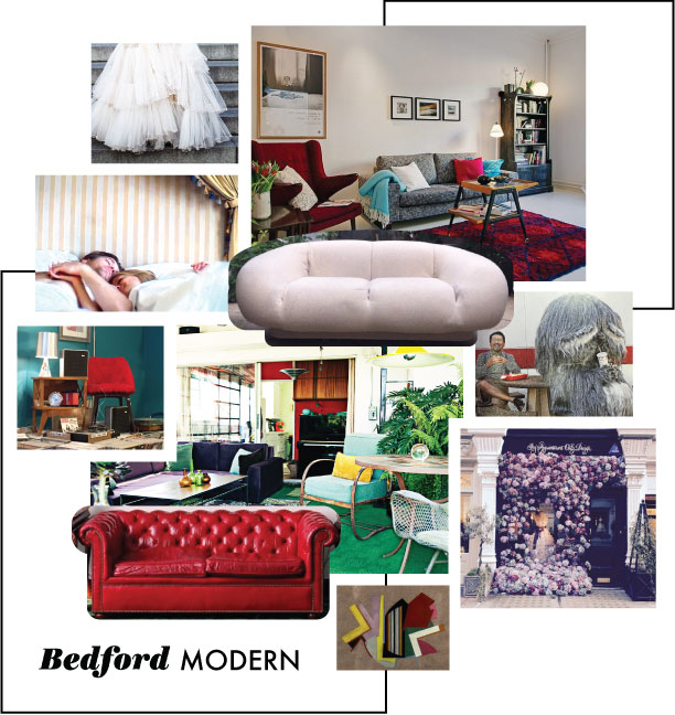 Dotted tulle layered  skirt ; red fur rug home  interior ; hotel scene in  Beginners ; 70's era Steve Chase egg shaped  sofa ; Takashi Murakmai and Keiju creature from  Ideat  magazine; fur covered chairs in Paris Rue Henry Monnier SoPi shop; indoor outdoor living room photographed by  Amber Gress ; red leather Chesterfield sofa at the Greenbier Hotel via  Rosie Clayton , Leslie Parks abstract painting found on  Krrb ; overflowing floral display in London shop on Chilteron Street captured by  Kikithedinosaur .