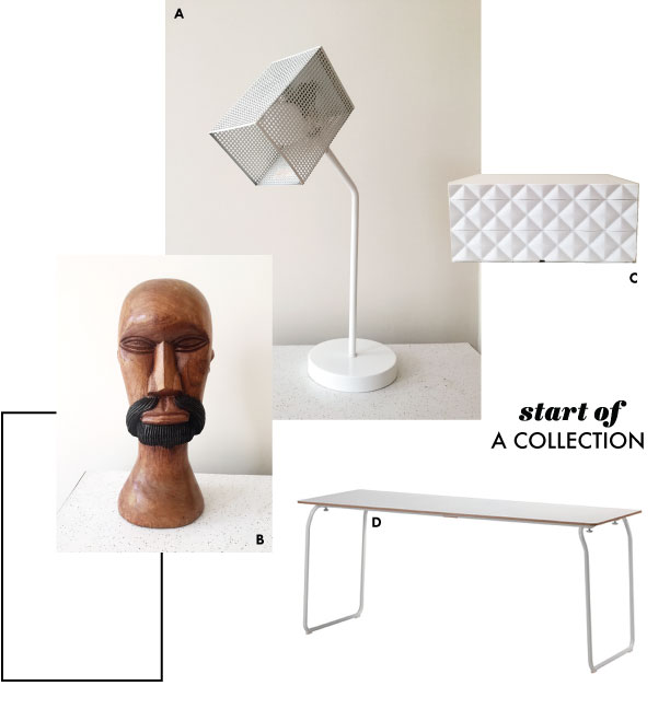 A. Vintage white 80's modern grid task lamp from thrift store. B. Vintage wooden head figurine from flea market. C. Criss-cross white stacking jewelry box from  Container Store . D. Long high pressure laminate PS table in white for desk,  IKEA .