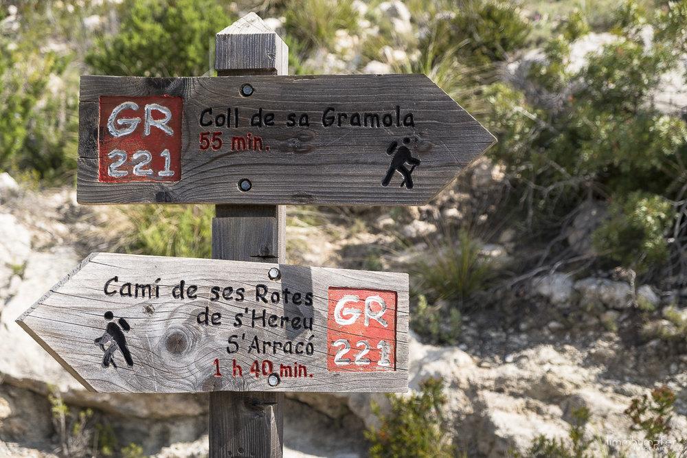 Erster offizieller GR221-Wegweiser von Port d'Andratx aus kommend.