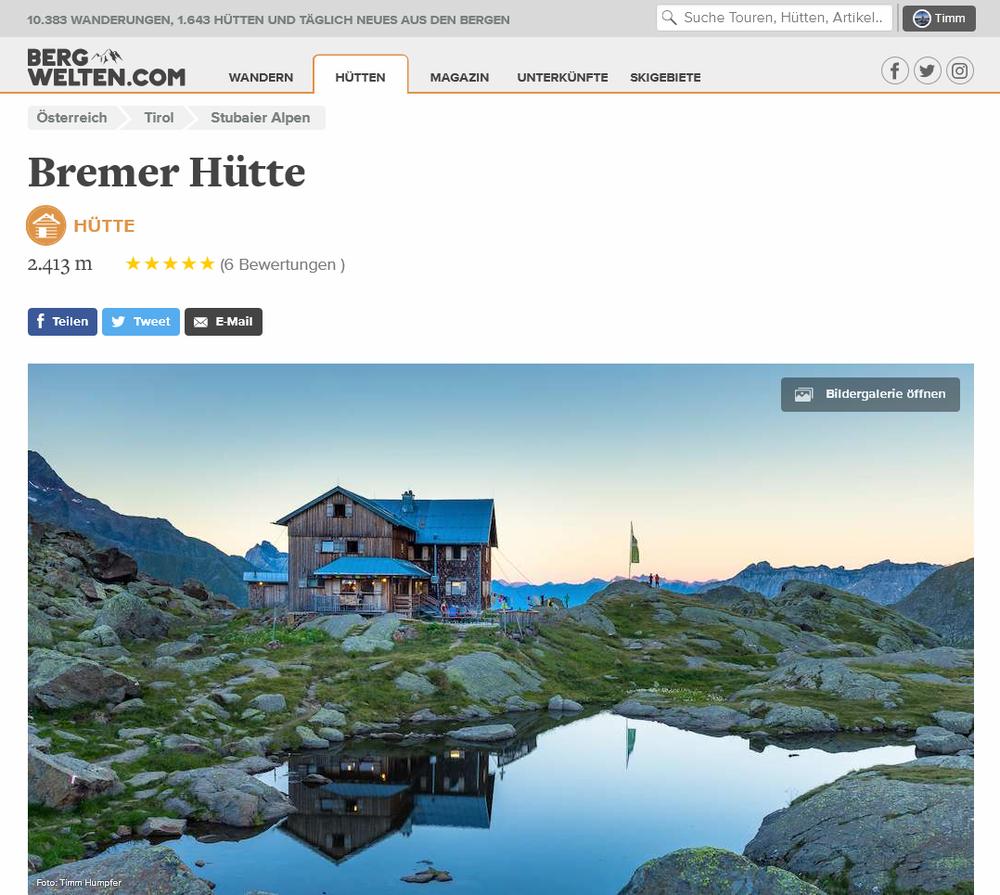 """Sie ist das Hüttenfoto der Bremer Hütte auf Bergwelten.com und erschien in der vorletzten Print-Ausgabe des Magazins in der Wahl zu den """"20 schönsten Hütten""""."""