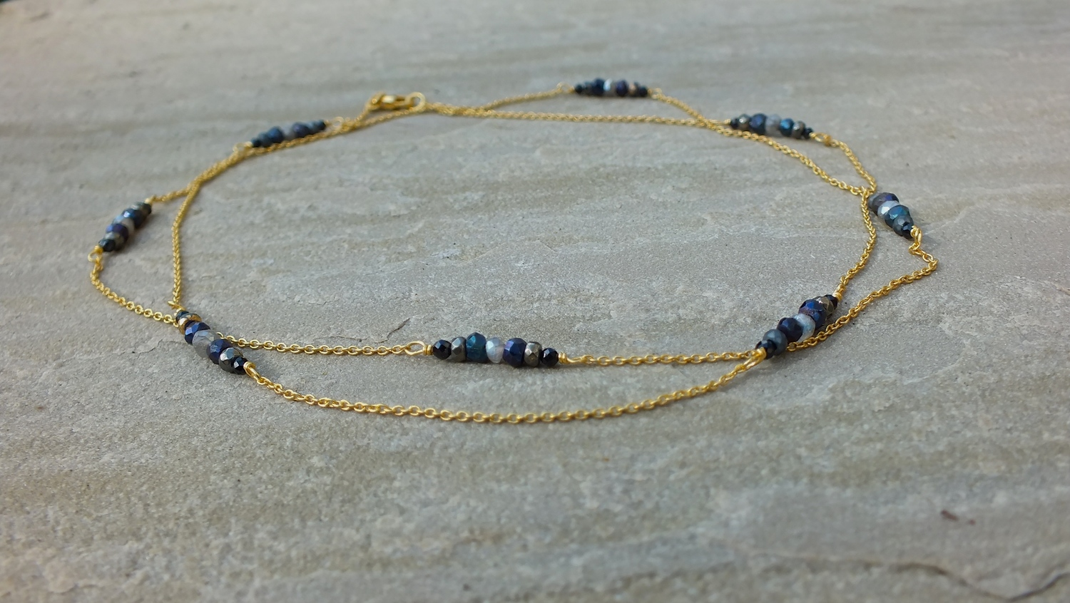 labradorite and garnet illusions pyrite handcrafted products necklace