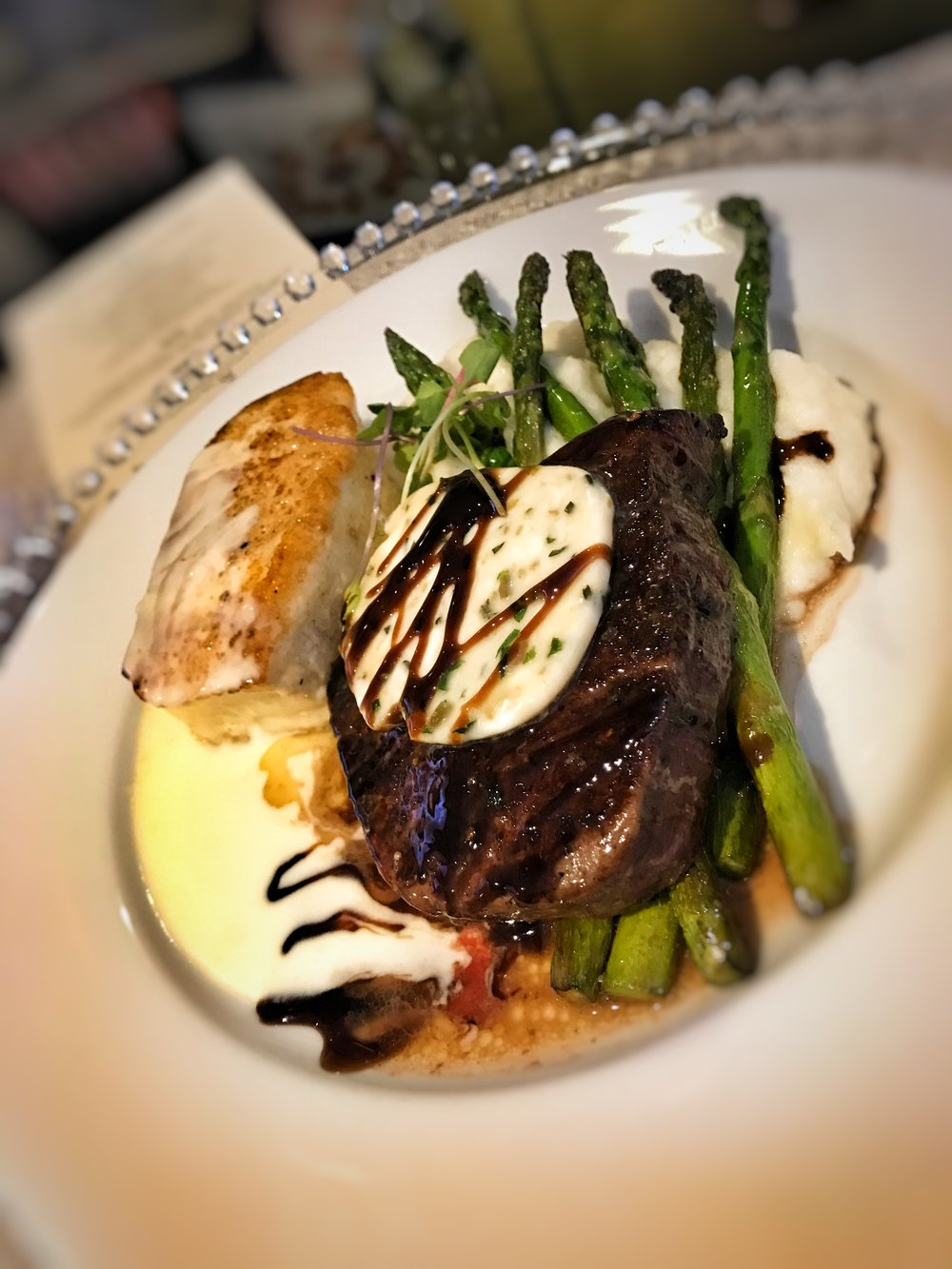 PEPPERCORN CRUSTED FILET MIGNON & PAN-SEARED ALASKAN HALIBUT