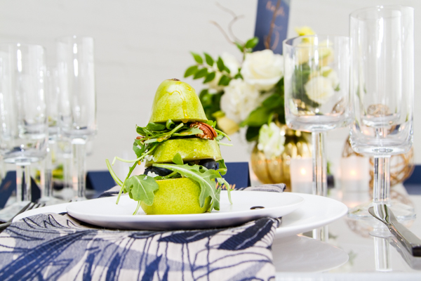 Stacked Pear and Arugula with Blueberries Salad