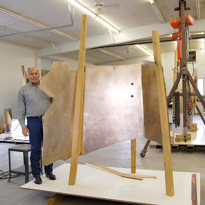Wayne Brungard , artist in studio