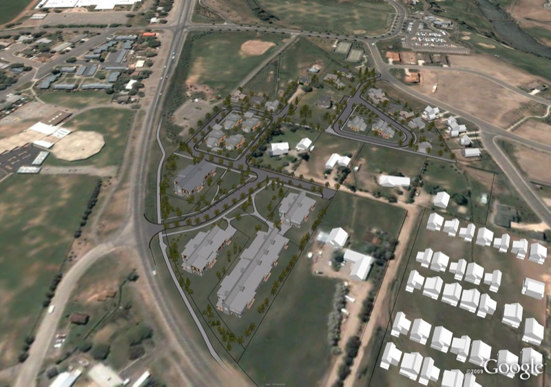 Aerial view of 3D model showing site and surrounding buildings in white