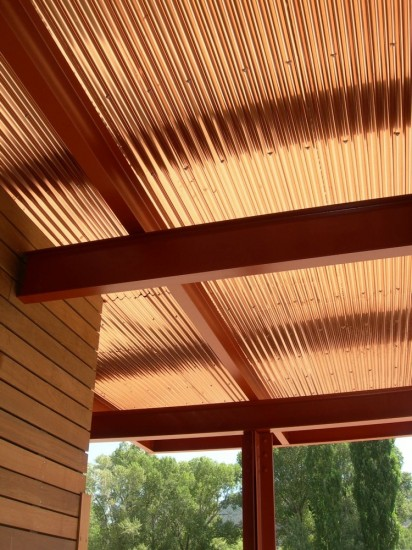 Corrugated copper entrance soffit