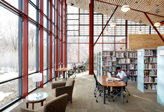 The north end of the reading room lifts up to afford a view of the top of Basalt Mountain across the river. Subdued light combined with comfortable seating and good work areas make this the most popular place in the Libary.