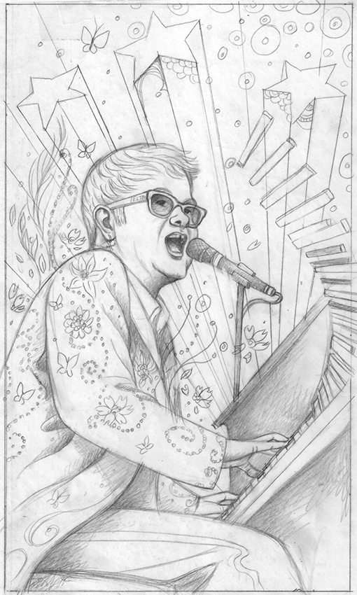 Sketch 1: The floral detail and glitter on his jacket floats outward to echo those fabulous feathers from former costumes. I was also trying to convey Elton's creative energy bursting outward.