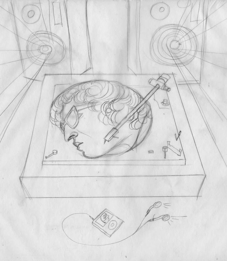 Initial sketch for this turntable idea.
