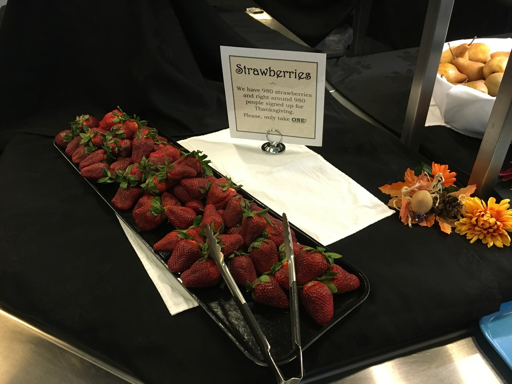 Thanksgiving strawberries in Antarctica are a rare commodity and not to be hogged.