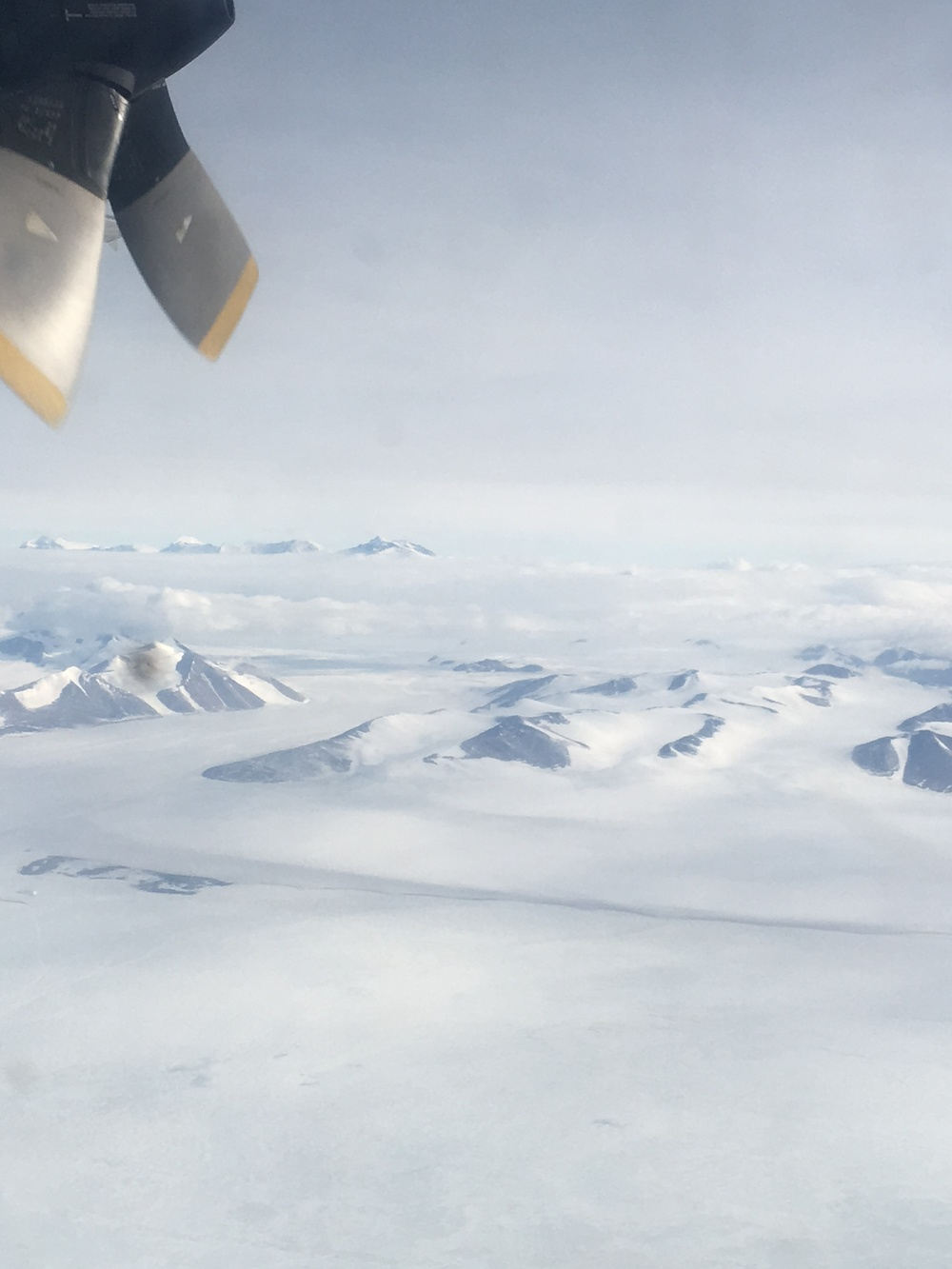 View out the porthole of the L-100 as we fly out of McMurdo.  Goodbye Antarctica until next year!
