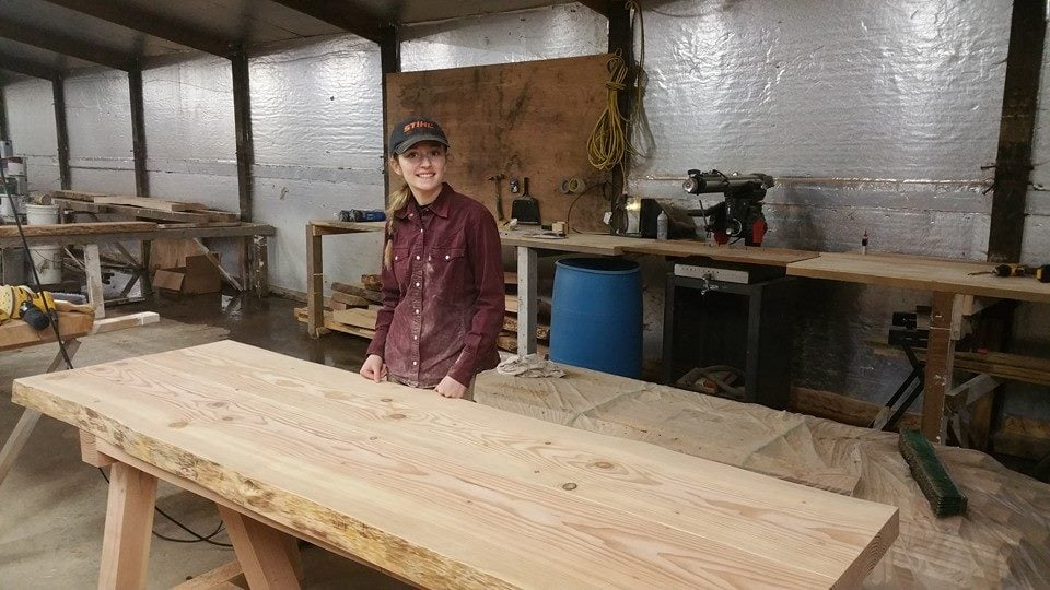 We completed our largest project yet! 1 lunch room table, 1 conference table, 1 desk, 1 sofa table, and a counter top. All of these were ordered by Wilcox Farms to spruce up the office. My dad and I also have a new workshop, which means we can work on big projects like these!