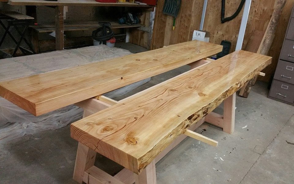 This is a lunch table that we made for the office. Again, it is all Douglas Fir, and we ended up staining the frame dark, because it contrasts with the table top. These slabs are so heavy that we had to wait to attach them to the frames until we had carried them inside the office.