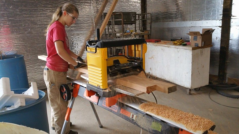 For the dimensional lumber we used to construct the base of the kitchen table, we run it through our planer to smooth and straighten it out. We found out the hard way last summer that warped boards are hard to work with. Ya live and learn I suppose!