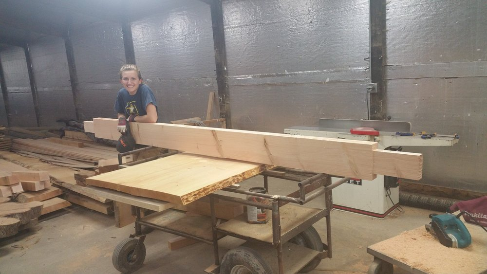 For the 13 foot conference table, we used a trestle and slab-style legs for the undercarraige. We had never done anything like this, so it was a learning expereince!