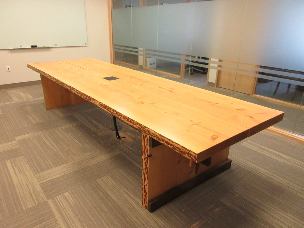 The finished product turned out to be a beauty. Not many people, especially at my age, can say they have made a 13 foot conference table. I am so thankful for this oppurtunity.