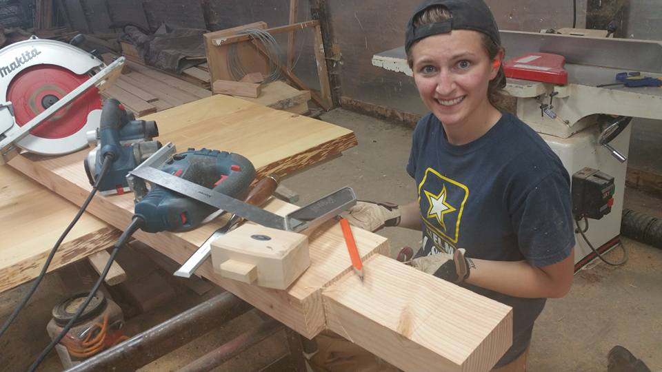 "The amount of tools it took to make the tenon at the end was unbelieveable. This is my ""this is hilarious/ridiculous"" look. Again, after a trial and error process, we figured it out!"