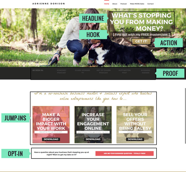 Adrienne Dorison's website also follows this stress-free homepage system for increasing her conversions.