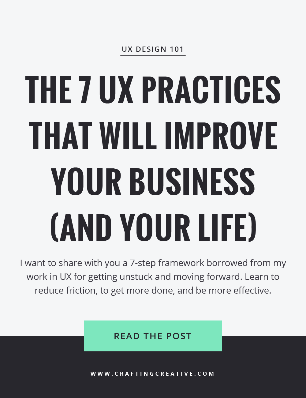 In this post, I share with you a 7-step framework, borrowed from my work in User Experience Design, for getting unstuck and making progress toward your goals. Learn to reduce friction, to get more done, and to be more effective. Click through to get the 7 steps!