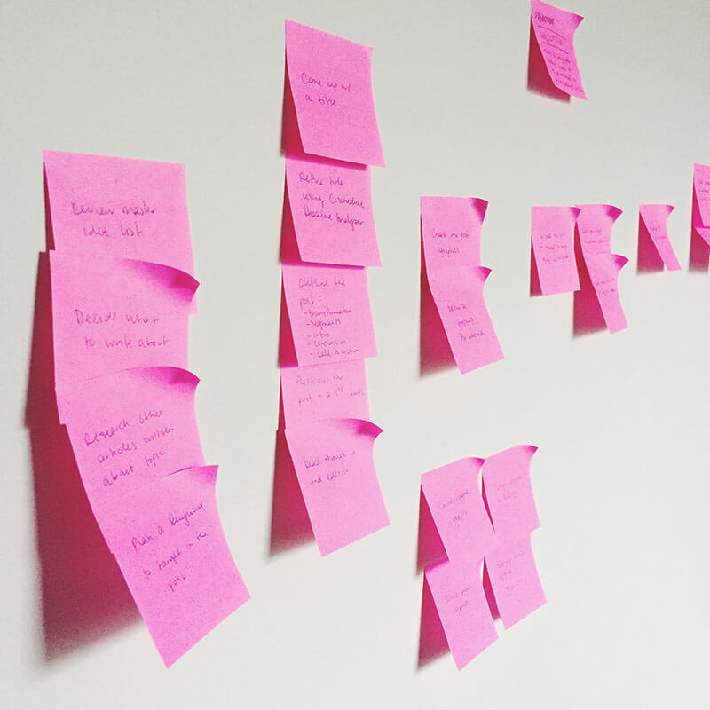 Write your tasks or steps on individual post-it notes and then group those together in an affinity diagram.