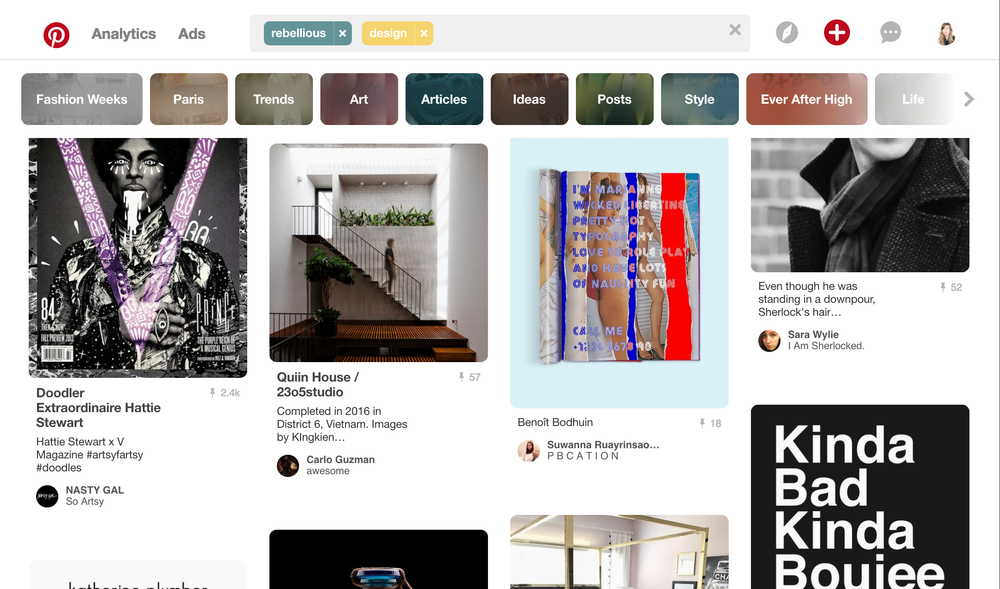 An example of how to search your brand tone words on Pinterest to create your brand moodboard.