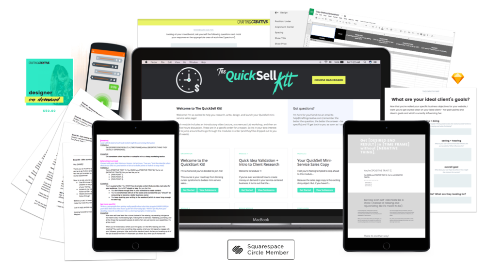 The QuickSell Kit course will teach you how to create and launch your mini-service sales page to bring in more clients with less hustle.