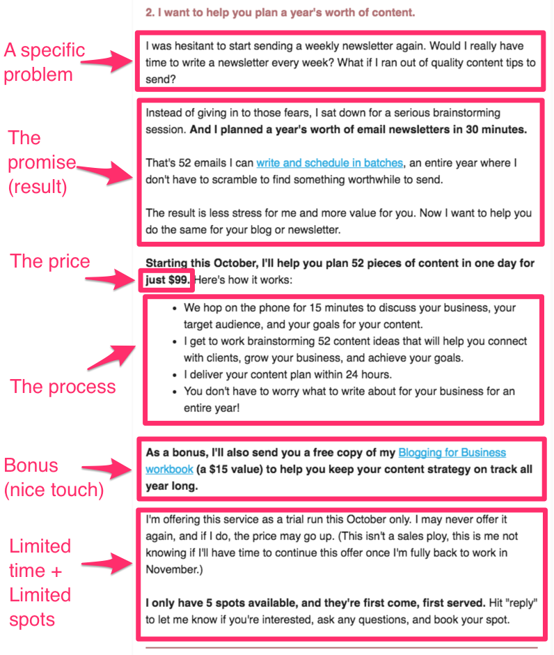 A breakdown of the email Ashley used to launch her limited-time service offer that brought in 5 new clients quickly.