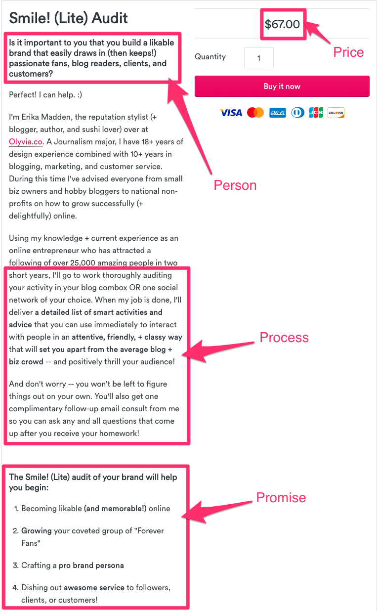 """An example of an evergreen """"mini"""" service offering that I purchased from Erika Madden to audit my social media comments."""