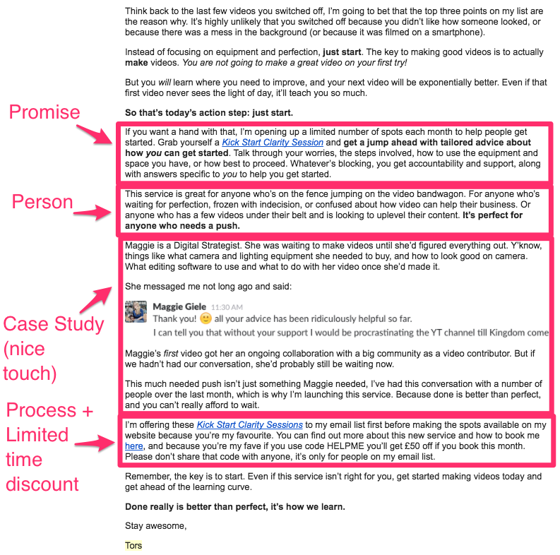 An example of how easily you can launch a mini-service with a single email to bring in extra revenue at the end of a quarter.