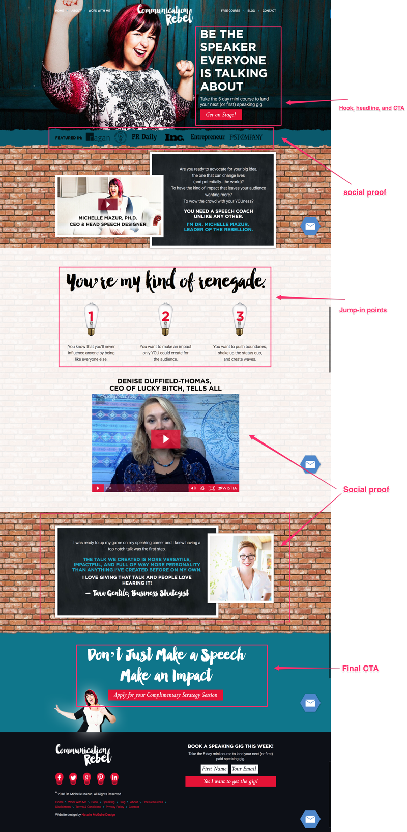 "Michelle's homepage has all of the base elements from the foolproof homepage blueprint. In addition, she's added in a great ""About"" section and is using video to increase the digestibility of her page content, while showcasing her expertise and personality."