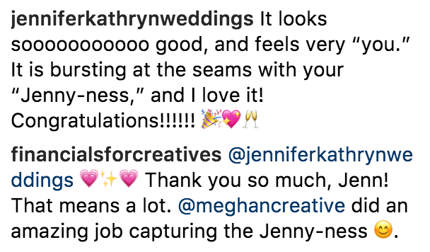 The reactions of Jenny's audience after seeing her new website show how well we were able to capture her personal brand.