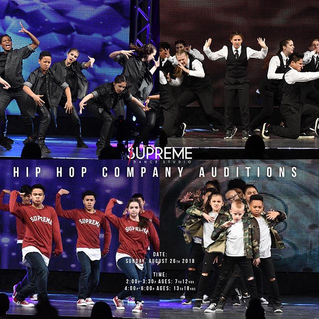 Be apart of our family! Join us for our Hip Hop Auditions Sunday, August 26th 2018 at Supreme Dance Studio. It is absolutely free to audition, so feel free to invite your friends. Dancers are to wear comfortable clothes with clean gym shoes. Following the audition, each student will receive an email with their audition results, extended company information, and a suggested Program Session class list.  Time: 2:00p - 3:30p - Ages: 7 - 12yrs 4:00p - 6:00p - Ages: 13 and up #wearesupreme #supremedancestudio #supreme #audition #hiphop