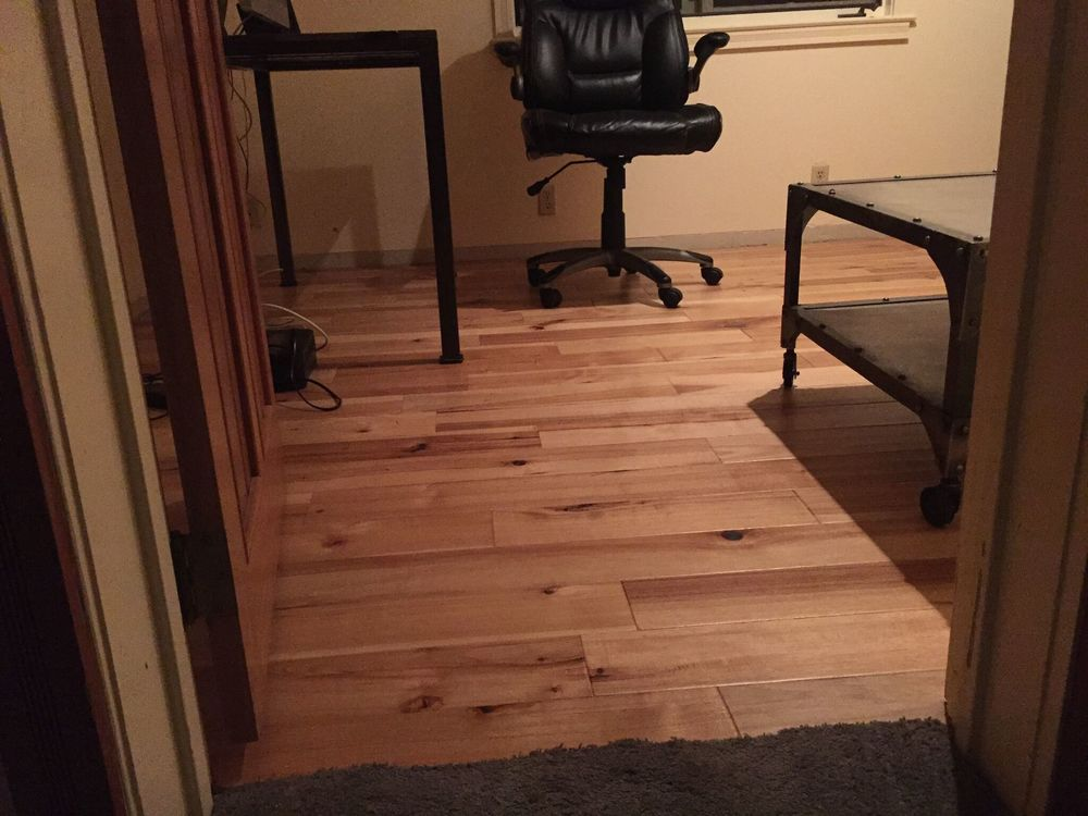 the new floor in my office, just before the baseboards went in. So much better than that carpet!
