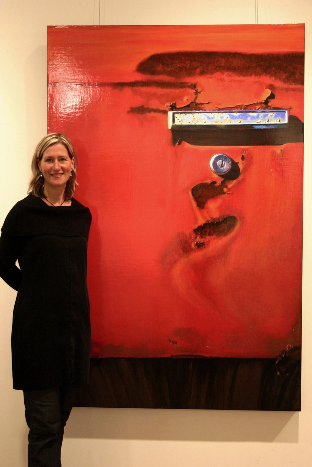 "Susan with her mixed media piece entitled ""Dancer"""