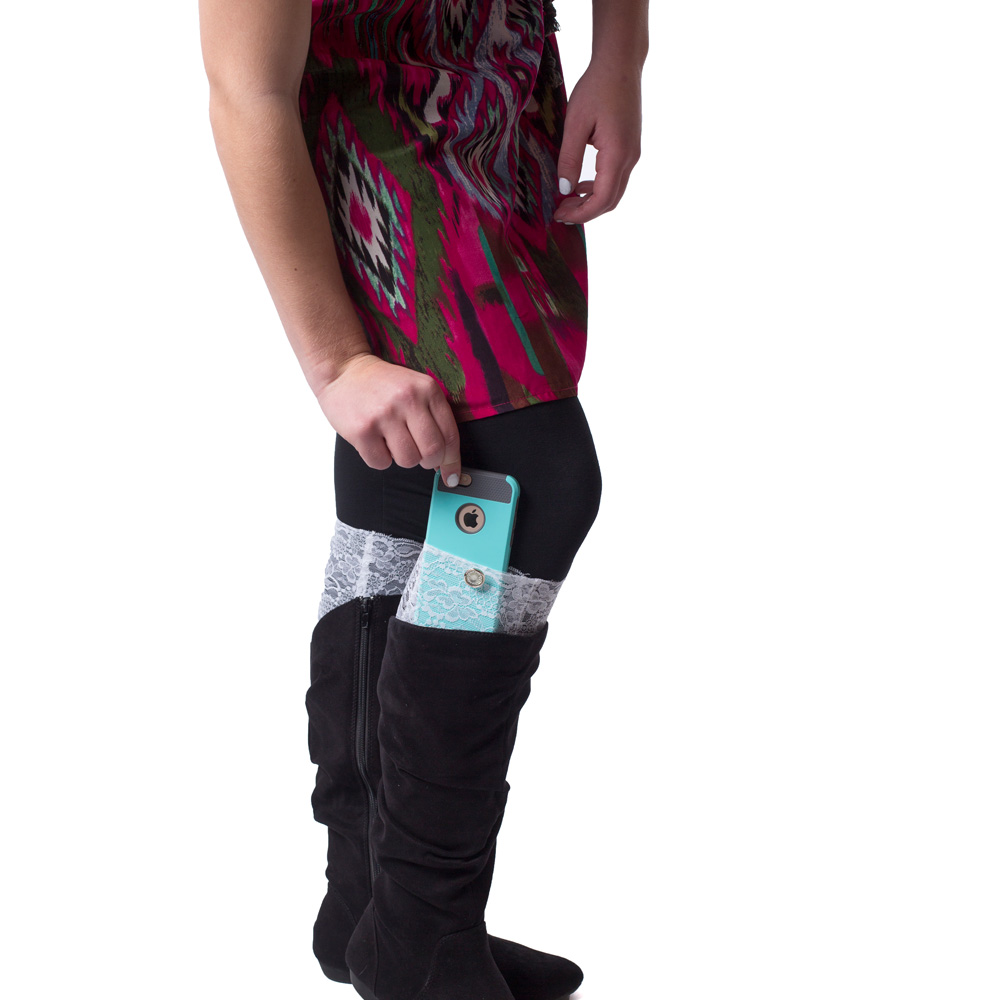 Trendy Boot Cuff with hidden pocket for your Cell Phone