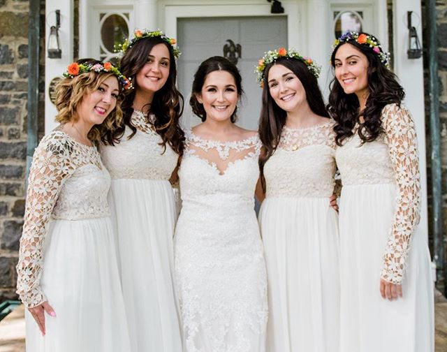 Dare to do white? Loving how lovely our bride, Katie, and her sisters looked in white! 😍 — photo: @elizabethaustinphoto | bridesmaids dresses: @asos | florals: bride | hair + makeup: @zibabridalmakeup — #bridesmaids #sisters #bridesmaidsinwhite #besties #stylemepretty #shesaidyes #imengaged #leesburgwedding #weddingdress #dcweddingplanner #leesburgweddingplanner #weddingdress #greenery #weddingday #ohhappyday #weddingportraits #weddinginspiration #thatsdarling #laceweddingdresses #communityovercompetition #thehappynow #photooftheday #bestfriend #bestofday #fashion #fashioninspired #creativewedding #instagood #abeyoutifulfete #abfexperience