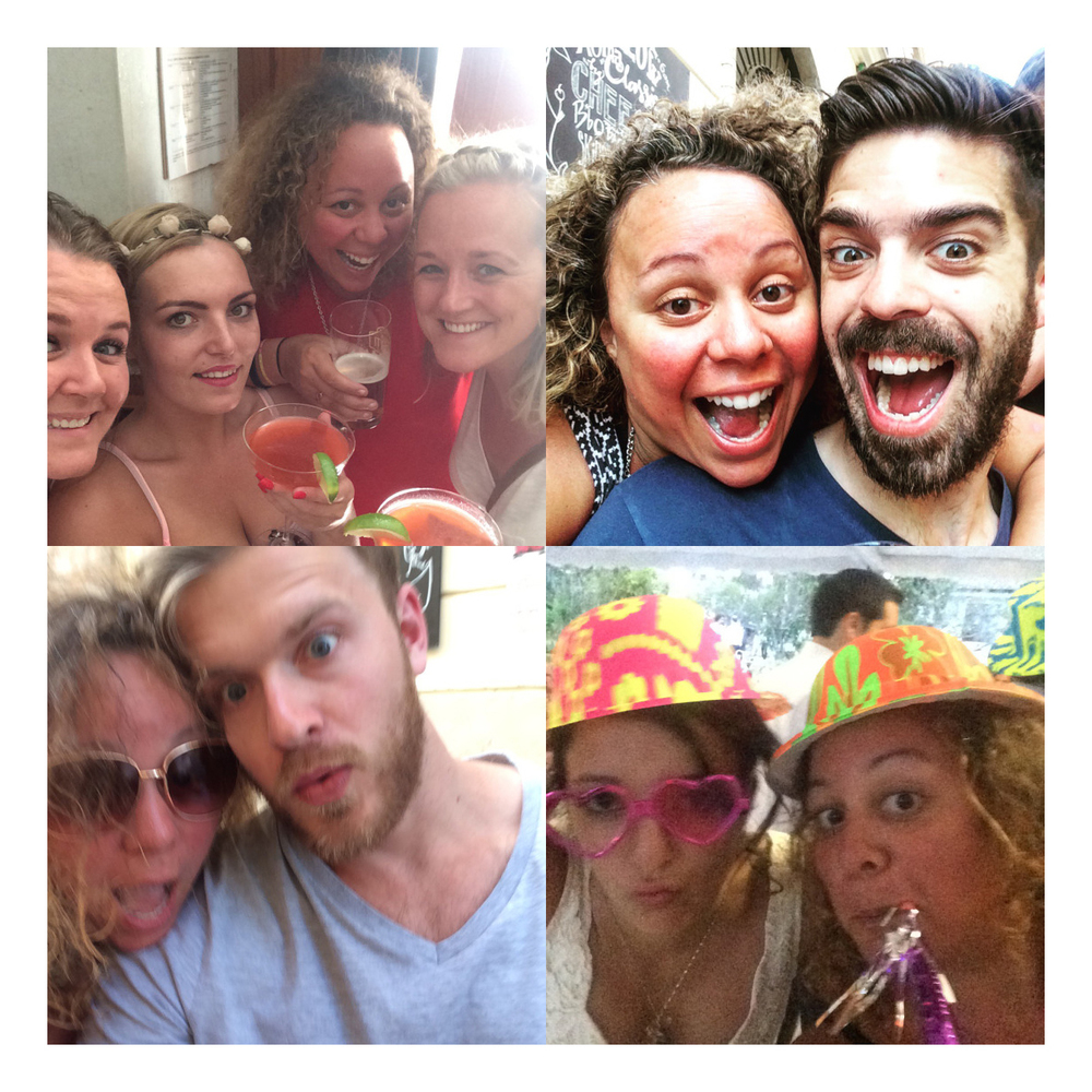 Jenna's selfies with various friends and world travelers (photos by @jennalogic)