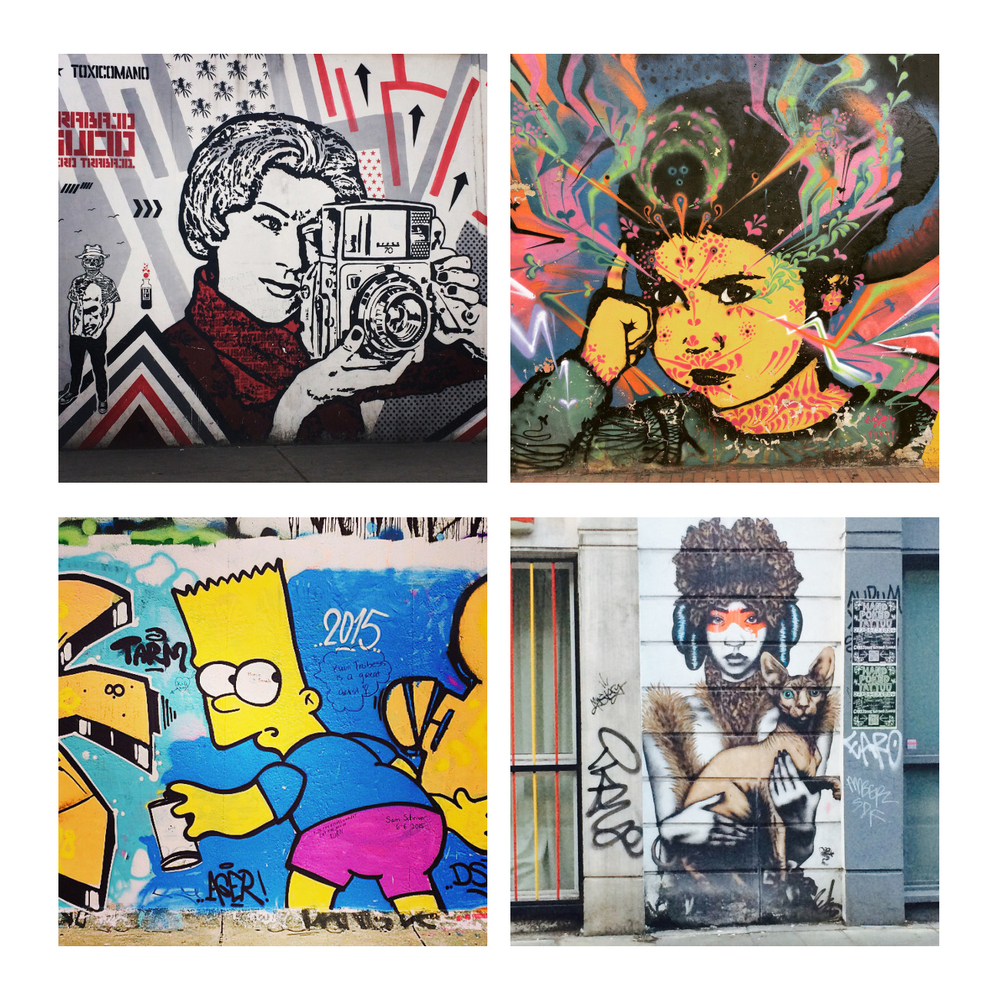 Clockwise from top left: graffiti in Bogotoa, Bogota, London, Berlin (photos by @jennalogic)
