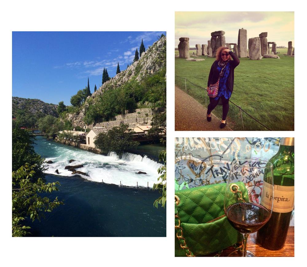 Scenic view in Bosnia, Jenna at Stonehenge, wine and fashion in Barcelona (photos by @jennalogic)
