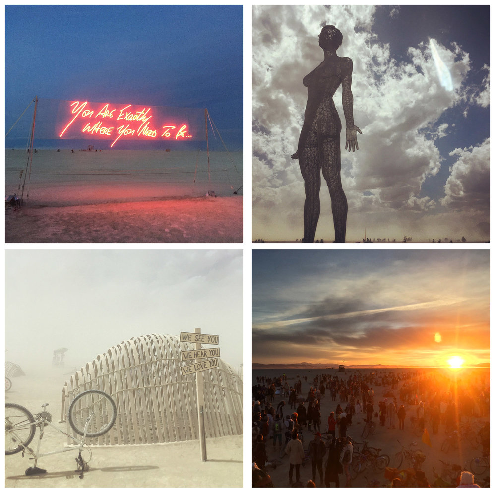 An assortment of art installations from the year, as well as our Saturday into Sunday sunrise at Robot Heart